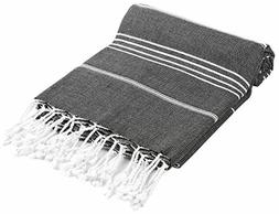Cacala 100% Cotton Pestemal Turkish Bath Towel, 37 x 70, Bla