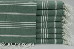Basic Dark Green Turkish Towel, Peshtemal, Travel Towel, Poo