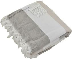 InfuseZen Large Turkish Towel with Soft Terryback, Striped P