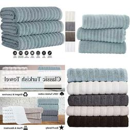 Classic Turkish Towels Luxury Ribbed Bath Sheets - Soft Thic