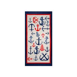 Nautical Anchors Beach Towel, 100% Cotton Soft Turkish Bath