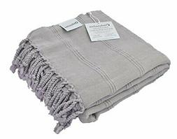 InfuseZen Stonewashed Turkish Towel, Thin and Absorbent Bath