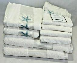 Home Turkish Towels Eight Piece Set Light Cream Color/ Blue